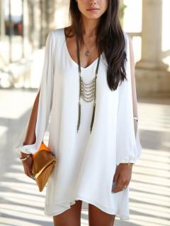White chiffon shift dress with slip sleeves