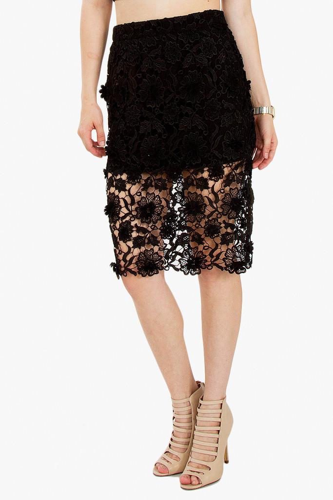 Midnight blooms black skirt