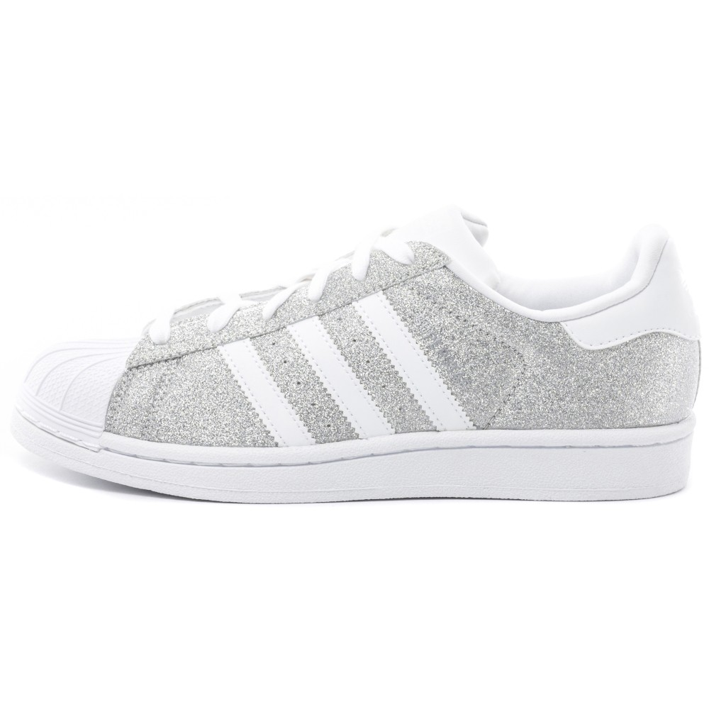 adidas superstar glitter womens trainers in silver white. Black Bedroom Furniture Sets. Home Design Ideas