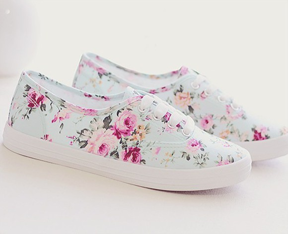 shoes floral white cute