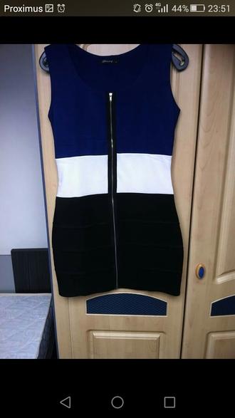 dress black white blue zipper dress