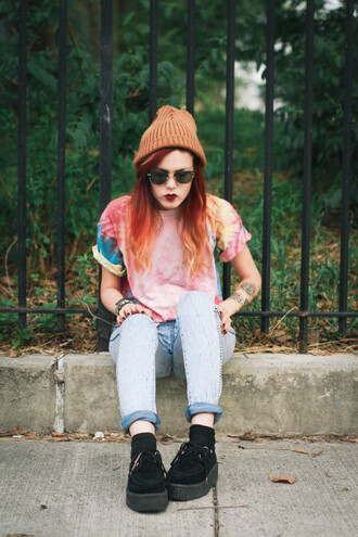 t-shirt creepers rainbow beanie le happy tie dye