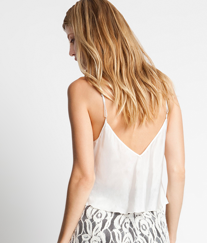 Silk Habotai Cropped Cami -- White