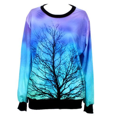 Womens girls galaxy forest digital printed jumper sweater crew neck sweatshirt