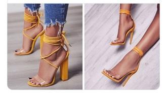 shoes sandal heels mustard heels