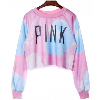 sweater cropped pink blue cute fashion style trendy cool long sleeves boogzel girly girl girly wishlist crop tops crop cropped sweater top pink by victorias secret pink sweater