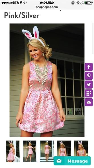 dress clothes pink silver shophopes floral metallic