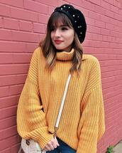 sweater,tumblr,yellow,yellow sweater,turtleneck,turtleneck sweater,knit,knitwear,knitted sweater,oversized sweater,hat,beret,embellished,sweater weather