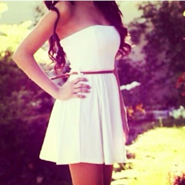 dress white dress white girly strapless dress brown belt little white dress cute belt