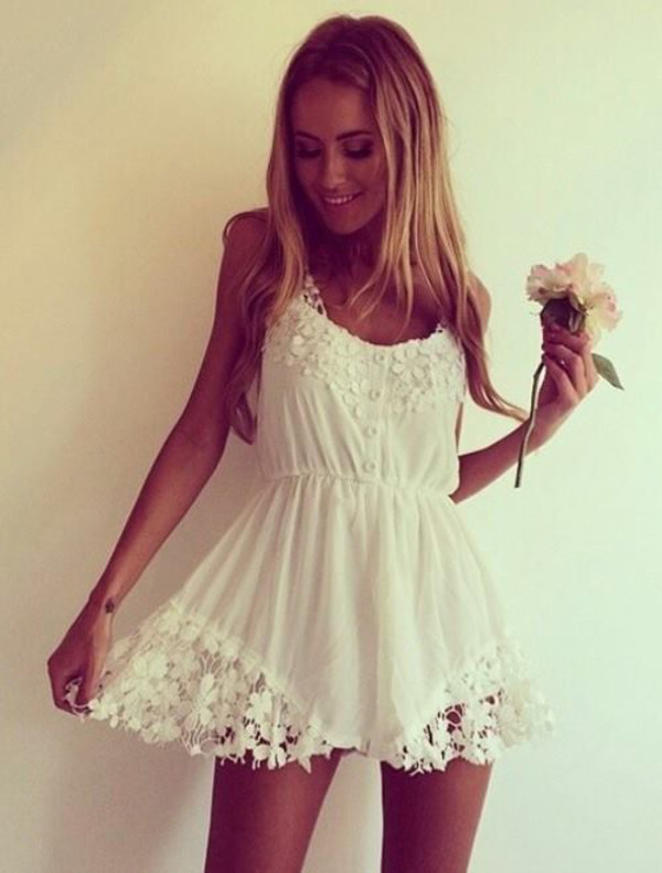 dress pretty white lace dress short sweet summer cute white dress flowers cute dress classy girls wear pearls