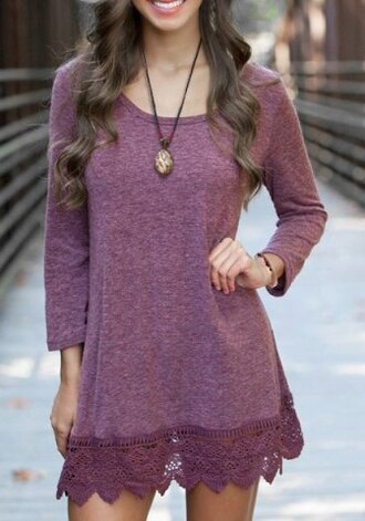 dress fashion style purple pink lace casual girly long sleeves