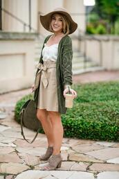 something delightful,blogger,skirt,sweater,cardigan,tank top,hat,bag,jewels,shoes,fall outfits,green cardigan,knitted cardigan,floppy hat,booties
