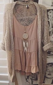 dress,cardigan,white,girly,boho,tumblr,coachella,vintage,gorgoeus,blouse,romper,boho chic,cute dress,jewels,necklace,top,nude,tank top,t-shirt,wholeoutfit,polka dots,brown,dreamcatcher,sweater,cute,chic,spring,pink,boho necklace,rose,brandy melville,loose,flowy,pretty,casual,flowers,flowy dress,dusty pink,bag,hipster,shirt,jewelry,dreamcatcher necklace,this beige cardigan,boho dress