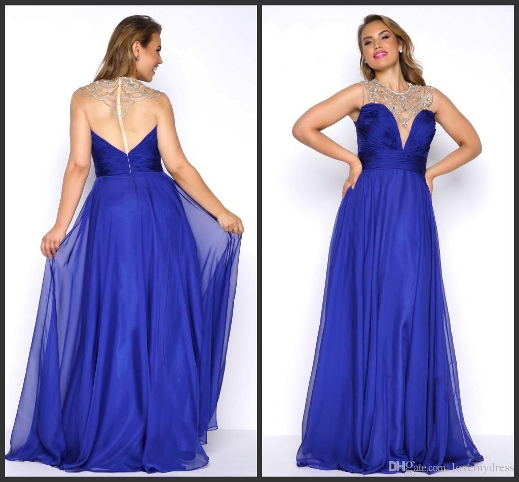 bd14d615655b4 Plus Size Prom Dresses Formal Chiffon Gown Beadings Zipper Back Art Deco  Inspired Neck Iullsion Sexy Prom Dress Long Party Cheap Price Cocktail Dress  For ...