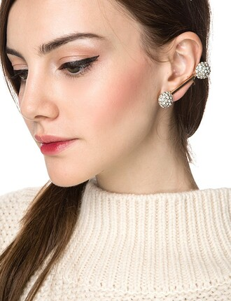 jewels diamond ear cuff rhinestone ear cuff ear cuff pom pom ear cuff statement earrings statement ear cuff pixie market pixie market girl