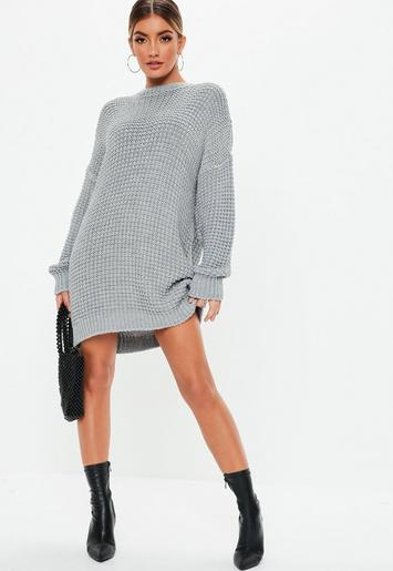 Missguided - Gray Chunky Knitted Sweater Dress