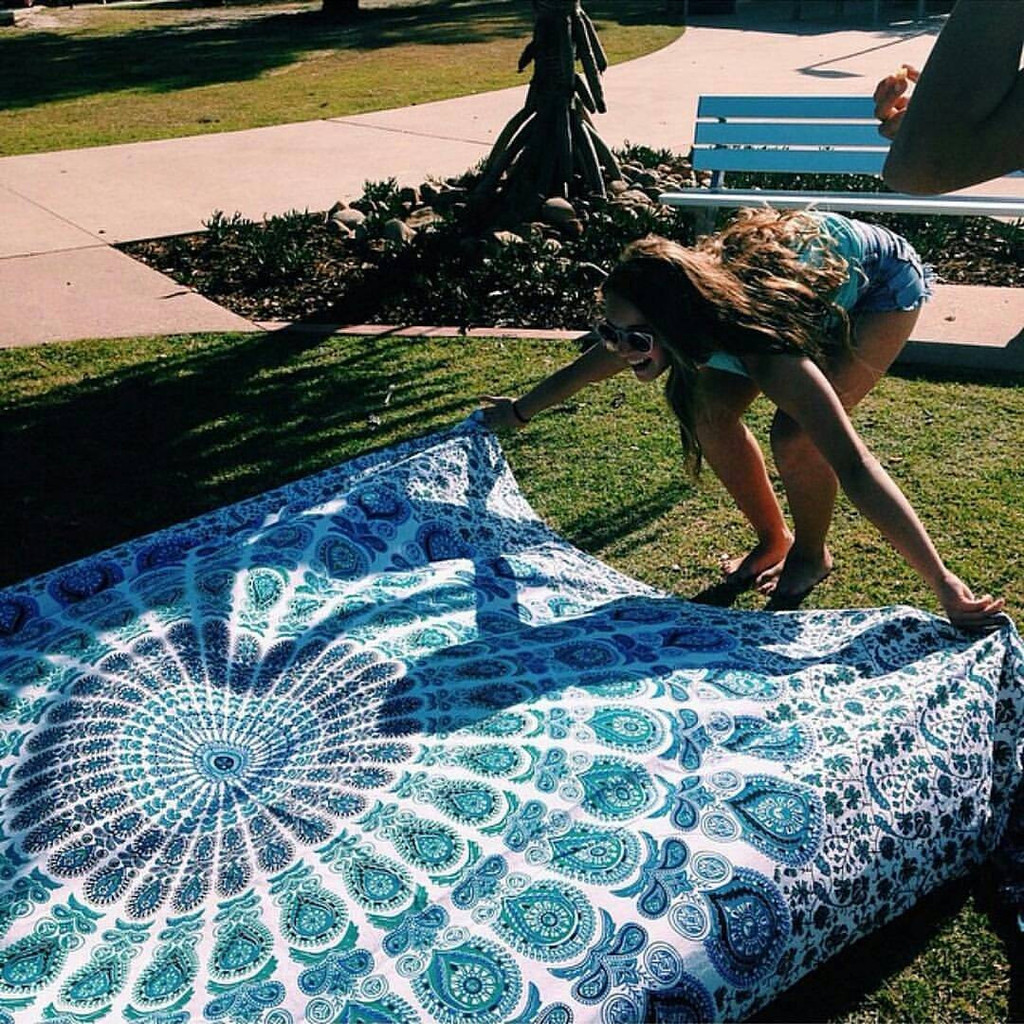 Beach Blanket, Queen Mandala Bedcover, Dorm Decor Wall Hanging, Sofa Couch Cover, Table Runner