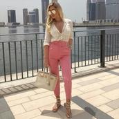pants,pink,salmon pink jeans,belt