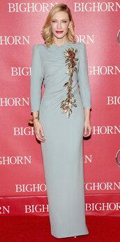 dress,maxi dress,gown,cate blanchett,long sleeve dress,blue dress,draped dress