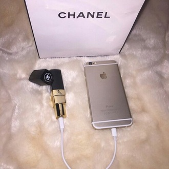 home accessory chanel lipstick portable charger earphones