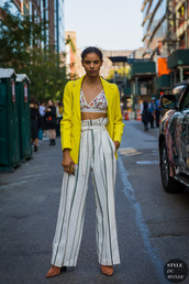 pants,white pants,wide-leg pants,high waisted,stripes,striped pants,blazer,yellow,yellow blazer,bra,bralette,streetstyle