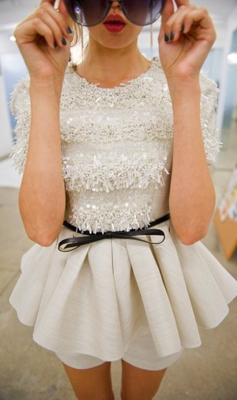 dress sequin white short peplum prom