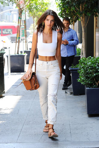 top crop tops pants shoes sandals bag white top emily ratajkowski white pants all white everything angl miu miu