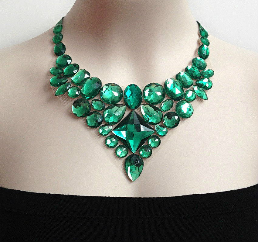 green bib rhinestone necklace, wedding, prom, bridesmaids necklace