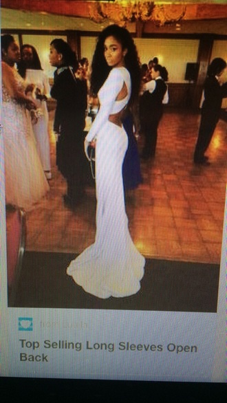 dress white dress prom long-sleeve dress backless dress