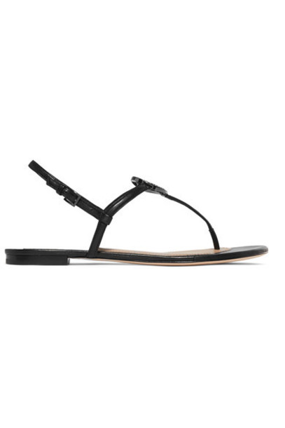 Tory Burch embellished sandals leather sandals leather black shoes