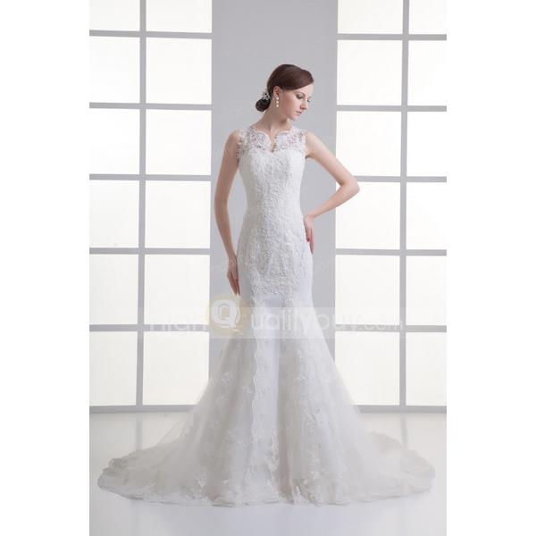 Ivory Mermaid Gauze V-neck Chapel Train Wedding Dress_$215.99