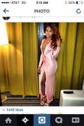pink silk,plunge v neck,long dress