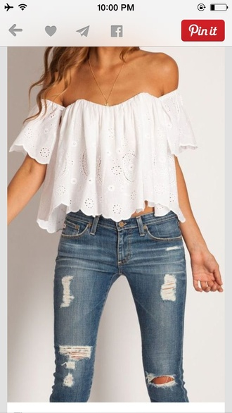 blouse lace white pretty boho hippie jeans off the shoulder top