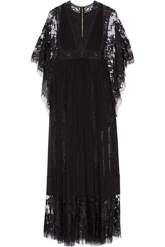 gown chiffon lace black dress