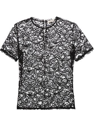 t-shirt shirt blouse lace floral black top
