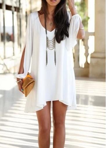 Woman Essential Long Sleeve V Neck White Dress | Rosewe.com