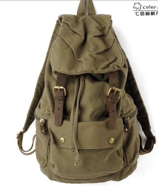 Green retro canvas rucksack backpack bag army gym work on aliexpress.com