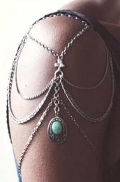 jewels,bracelets,one shoulder,gold,silver upper arm cuff,gold arm cuff,Arm Cuff,turquoise jewelry,turquoise,arm bracelet,shoulder chain,silver jewelry,shoulder detail,boho jewelry