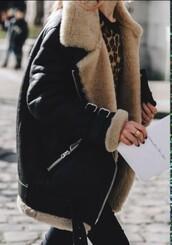 coat,black,black coat,lammy coat,black winter coat,winter coat,jacket,black jacket,fur coat,fur,shearling jacket,leather jacket,winter jacket,oversized jacket,black shearling jacket,buckles,biker,bomber jacket,shearling,motorcycle vintage jacket,aviator jacket,shearing,faux fur,biker jacket,leather,straps,beige,fluffy,fuzzy coat,oversized,lammy