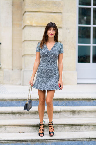 dress fashion week street style fashion week 2016 fashion week paris fashion week 2016 mini dress jeanne damas streetstyle grey dress short sleeve sandals sandal heels lace up heels black sandals bag black bag