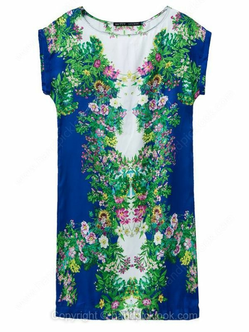 Royal Blue Round Neck Short Sleeve Floral Print Dress - HandpickLook.com