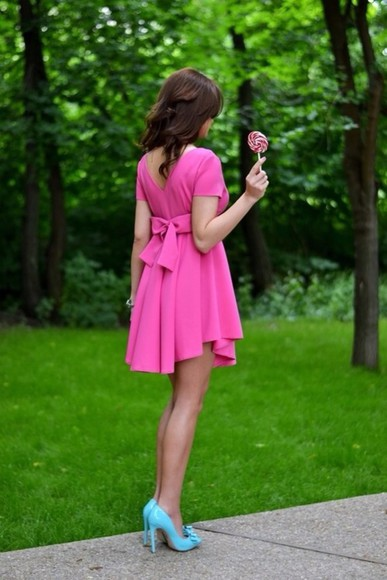 dress pink Bow Back Dress pink dress bows cute dress