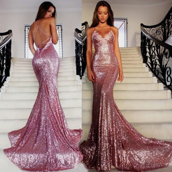 dress rose gold sparkle prom dress mermaid prom dress
