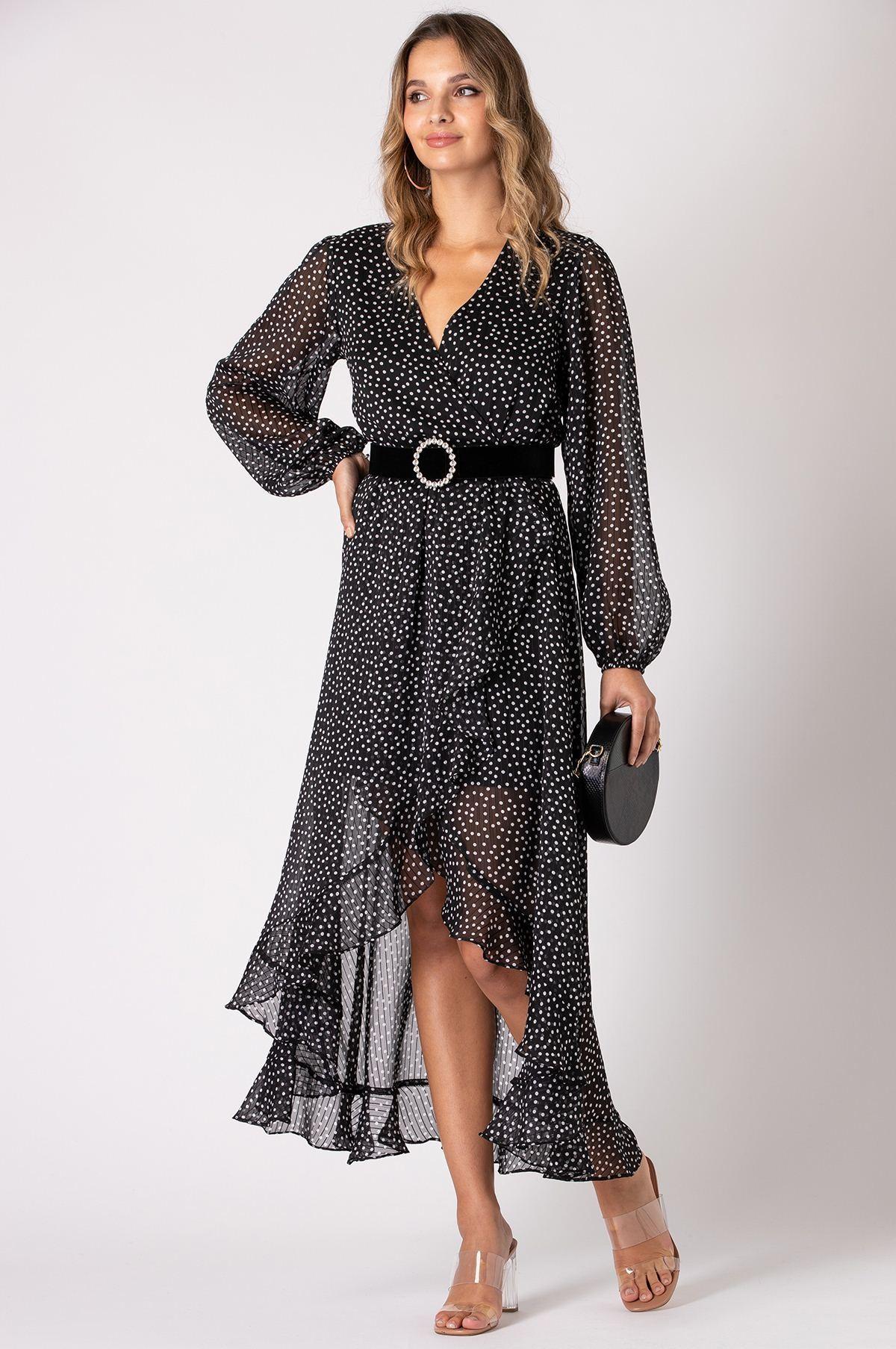 Dot Print Long Sleeve Wrap Dress