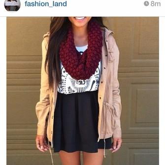 jacket scarf light pink jacket round black skirt scarf red