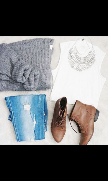 shoes sweater statement necklace ripped jeans ankle boots boots