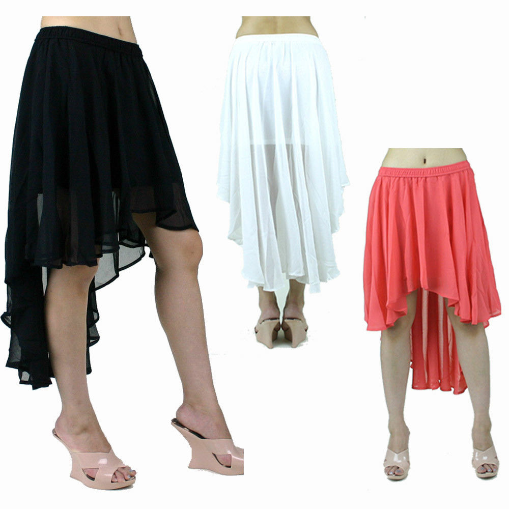 Double layer chiffon pleat asymmetrical solid mini long cascade draped hem skirt