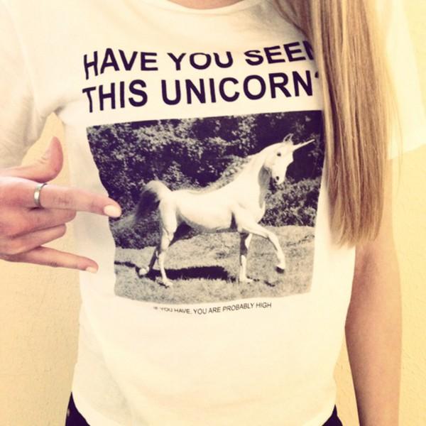 t-shirt funny black and white unicorn