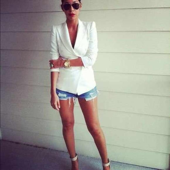 shorts jacket white blazer blazer fashion