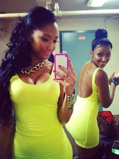 dress,neon yellow dress,bodycon dress